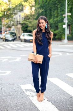 10 Ways To Style Blue Jumpsuits 2017