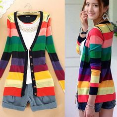2017 Spring Rainbow Knitting Shirts Long Sleeve Stripes V-neck Button Casual Knitwear Sweater Cardigans Female Thin Jackets Q463