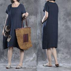 Women summer short sleeve loose cotton linen&Silk dress
