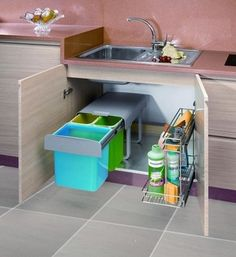 Slide out bins under sink