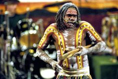 Australia | A member of Yothu Yindi, an aboriginal rock band from Australia, performing in the Economic and Social Council Chamber, during launching of the International Year of the World's Indigenous People.