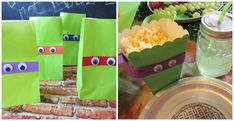 Ninja Turtle goody bags & boxes with googly eyes