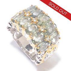 142-754 - Gems en Vogue 5.62ctw Ten-Stone Green Sapphire Wide Band Ring
