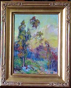 This is a very colorful ''Eucalyptus Sunset'''' oil painting by California plein air painter J. It is artist signed in excellent condition framed in a gold leaf arts and cfrafts style frame Gold Leaf Art, California Art, Slay, Oil On Canvas, Contemporary Art, Framed Prints, Sunset, Antiques, Wood