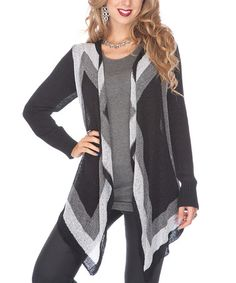 Take a look at this Black & Gray Open Cardigan by Lily on #zulily today!