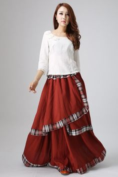 Irregular linen maxi skirt in darker red  (818)