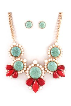Turquoise + Red Necklace