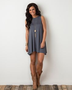 Cute with the boots but I'd never wear any dress this short!