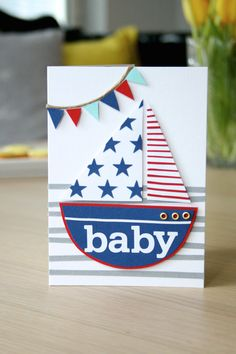 DIY: Onnittelukortti vauvalle (purjevene) / Greeting card for a new baby (sailboat)