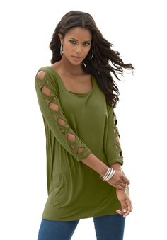 Plus Size Denim 24/7 Lattice Sleeve Drape Tunic