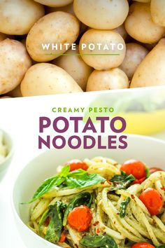 Looking for a gluten-free alternative to pasta? Look no further than the white potato. Spiralized white potatoes keep their shape well after cooking, making them perfect to pair with creamy pesto and roasted tomatoes. Side Dish Recipes, Raw Food Recipes, Cooking Recipes, Healthy Recipes, Pesto Potatoes, White Potatoes, French Potatoes, Vegetable Dishes, Vegetable Recipes