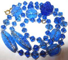 VINTAGE-Antique-1930s-ART-DECO-Bristol-Blue-Venetian-Carved-GLASS-BEAD-NECKLACE