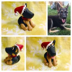 Handmade custom German Shepherd Dog Christmas ornament. Made from Sculpey Premo Polymer Clay. All figurines entirely handmade, no molds. Done on commission. Please add me on Facebook to inquire about my custom work and to get a quote! https://m.facebook.com/TempiesMenagerie