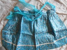 Vintage Apron, Vintage Rayon Apron, Blue and Silver Apron by auctionsaletreasures on Etsy