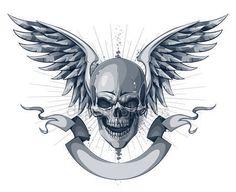 Caveira com asas, fita e lugar para o seu texto