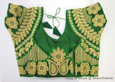 Green Embroidery Blouse - Sari Blouse - Saree Blouse - Sari Top - For Women - Designer saree Blouse - Designer Blouse by JahanviFashionShop on Etsy