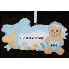 Baby's 1st Bottle 'N Blocks Blue - Personalized First Christmas Ornament