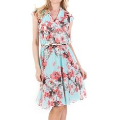 S.L. Fashions Floral Chiffon Dress with Belt