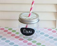Plastic Mason Jars Kids Size Glasses Cups Tumblers Milk Bottles 6 w/ Chevron Lids Birthday Party Wedding Baby Shower Favors 8oz