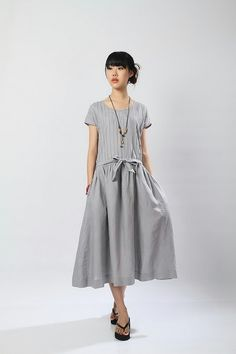 The+Show+Goes+OnGrey+linen+long+sundressmore+by+FashionColours,+$68.00