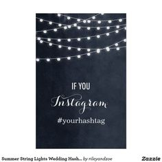 Summer String Lights Wedding Hashtag Poster