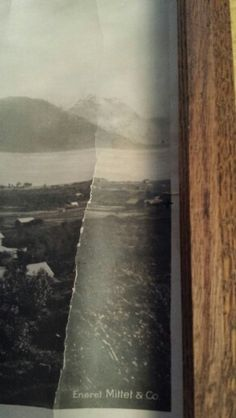 """Closer view of right side of the 8 """" X 28 """" picture of Sortland Norway. There is a dot about half way up just below a crease and that shows where my Grandfather Steiro's childhood home is. Right at the edge of the picture. Did not realize that it was there until I received the colored pictures of this area from a cousin who had someone take pictures of the house."""