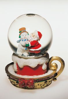 Santa Claus and snowman, snowglobe, 20th century