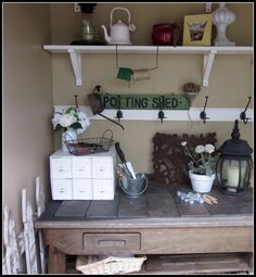 What a great mudroom makeover this would make! Shed Organization, Shed Storage, Built In Storage, Craft Storage, Allotment Shed, Greenhouse Shed, Potting Sheds, Potting Benches, Clutter Solutions