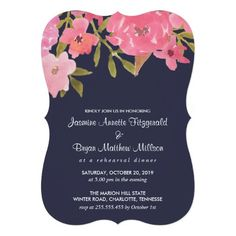 Shop Watercolor Pink Flowers Wedding Rehearsal Dinner Invitation created by Wedding_Trends_Now. Pink Wedding Invitations, Rehearsal Dinner Invitations, Wedding Rehearsal, Wedding Invitation Design, Rehearsal Dinners, Custom Invitations, Bridal Shower Cards, Wedding Prints, Watercolor Wedding Invitations