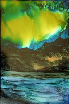 Northern Lights - AI on Yupo