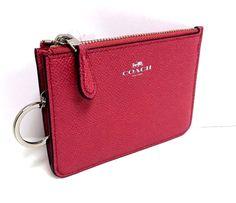 COACH Key Ring  Pouch Coin Purse Crossgrain Leather NWT Strawberry 57854  #Coach #CoinPurse