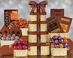 Godiva Milk and Dark Chocolate Tower - http://mygourmetgifts.com/godiva-milk-and-dark-chocolate-tower/