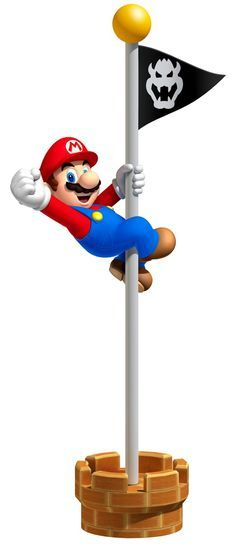 Mario jumping for his flag. Mario is my favourite nintendo game.