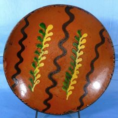 Antique Slip Decorated Pennsylvania Redware Plate 19th Century | eBay  sold   625.00.      ...~♥~