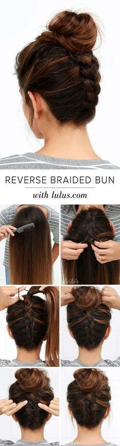 Cool and Easy DIY Hairstyles - Reversed Braided Bun - Quick and Easy Ideas for B. - - Cool and Easy DIY Hairstyles - Reversed Braided Bun - Quick and Easy Ideas for Back to School Styles for Medium, Short and Long Hair - Fun Tips and Be. Medium Hair Styles, Short Hair Styles, Medium Curly, Medium Long, Hair Medium, Bun Styles, Reverse Braid, Unique Hairstyles, Wedding Hairstyles