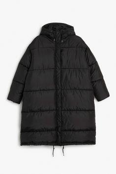 Monki Image 1 of Long puff coat in Black