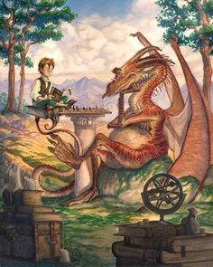Title: A Golden Afternoon  Artist: Tony DiTerlizzi  Follow: @diterlizzi  diterlizzi.com  #picoftheday #instagood #digitalart #digitalpainting #fantasy #followme #sweet #ilovefantasyart #cool #inspiring #cgsociety #artstation #omg #best #followme #artwork #art #instadaily #painting #instamood #medieval #love #photography #storytelling