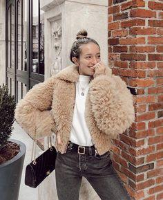 YouShop123 Women Faux Fur Coat Fur Jacket Fluffy Solid Hoodie Beige