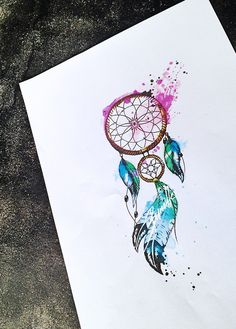 Dreamcatcher watercolor feather tattoo More