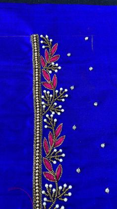 Peacock Embroidery Designs, Hand Embroidery Design Patterns, Hand Work Embroidery, Beaded Embroidery, Embroidery Blouses, Ribbon Embroidery Tutorial, Simple Embroidery, Embroidery Stitches, Cutwork Blouse Designs