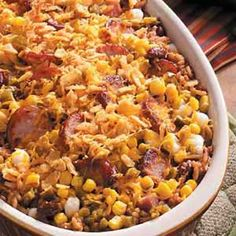 Hominy Sausage Bake Recipe -My cousin Lewis whipped up this spicy corn dish for a family gathering one year. It's nice and hearty, and it has plenty of Cajun flavor running through it. Sausage Bake Recipe, Sausage Recipes, Cooking Recipes, Cooking Ideas, Hominy Casserole, Casserole Recipes, Casserole Dishes, Hominy Recipes, Cajun Recipes