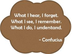 What I hear, I forget. What I see, I remember. What I do, I understand. Spark Quotes, Teacher's Pet, Training And Development, Teaching Ideas, Things To Think About, Forget, Inspirational Quotes, Classroom, Learning