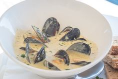Saldanha Bay Mussels in the most delicious creamy white wine sauce from Catch 22 Beachside Grille & Bar Creamy White Wine Sauce, Top Restaurants, Mussels, Base Foods, Fresh Herbs, Cape Town, Restaurant Bar