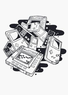 first birthday parties Retro Video Games, Video Game Art, Tattoo Geek, Ps Wallpaper, Systems Art, Doodle, Music Images, Gaming Wallpapers, Ap Art