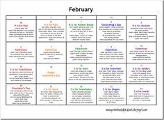 A sample preschool activity calendar that focuses on one letter each week. Or, click on an individual letter (in the column on the right side of the page) to see activities for that letter. So much fun! We will definitely focus on a letter each day over summer vacation!