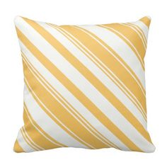 Dark Yellow and White Diagonal Stripes Throw Pillow ............This design features a Dark Yellow and White Diagonal Stripes pattern. Check out my store for more pillows with different colors. This design/color is also available on other products.