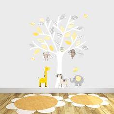 Grey And Yellow Safari Fabric Wall Stickers - wall stickers