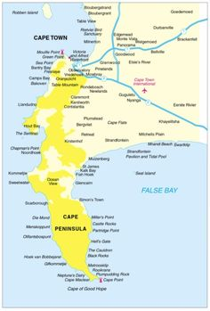 Map of the Cape Peninsula - Cape Town, South Africa Travel Maps, Africa Travel, Cape Town South Africa, Victoria Falls, African Countries, Beautiful Places To Visit, Around The Worlds, Country, Homeland