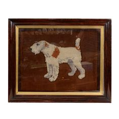 A Large Woolwork Picture of A Wire Haired Fox Terrier