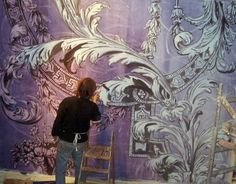 """via artmospheres: Tanguy Flameng at work on large-scale """"ancanthus leaf"""" mural"""